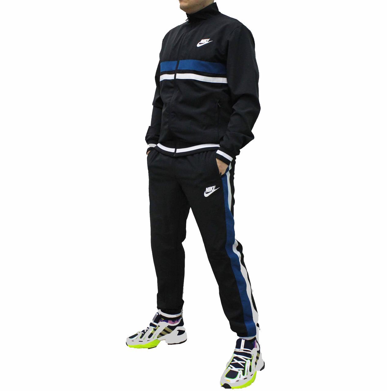Весенний стрейчевый спортивный костюм черный с ретро полосами  (Реплика)
