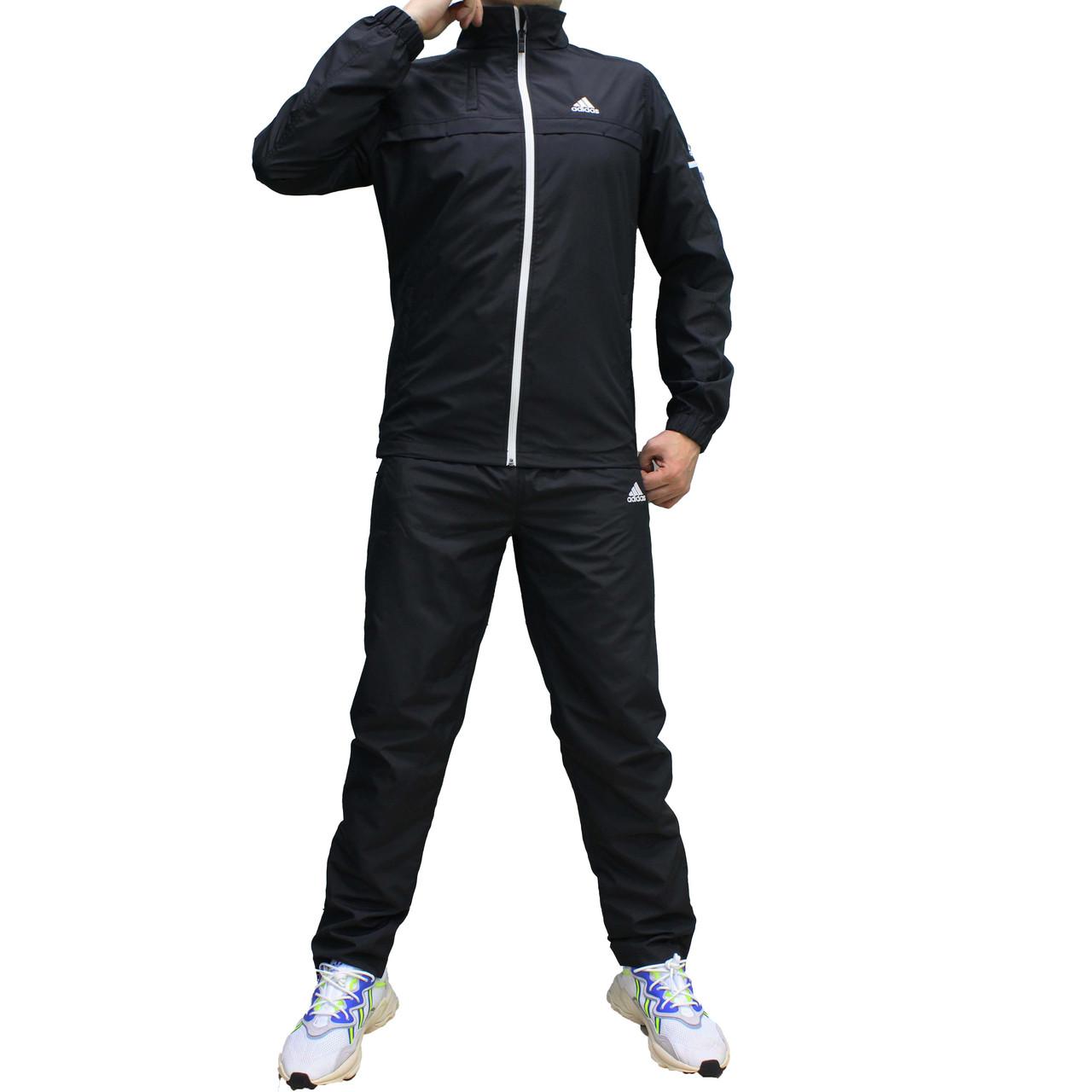 Мужской черный болоневый спортивный костюм Adidas с прямой курткой (Реплика)