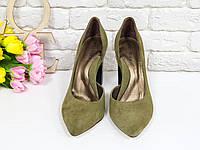 Эксклюзивные туфли из натуральной Итальянской замши оливкового цвета 36 37 38 39 40, фото 1