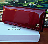 Женский кошелек BRETTON Red лаковый, Натуральная Кожа
