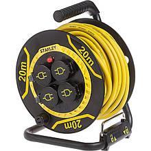 Подовжувач на котушці Stanley 20 м, 3x1.5мм2, IP44, 3200Вт, 4 розетки з кришками