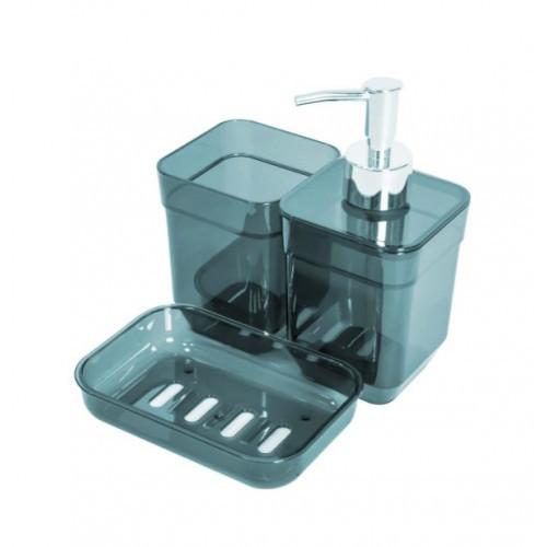 Набор аксессуаров дла ванной 3пр Cube Прозрачный Бирюзовый TRL-2034-TT Eco Fabric