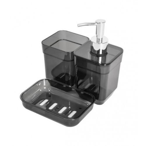 Набор аксессуаров дла ванной 3пр Cube Прозрачный Черный TRL-2033-TВ Eco Fabric