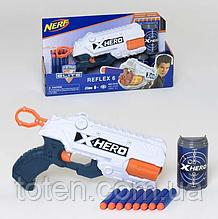 Бластер 23 см дитячий 8 м'яких куль, банки-мішені.X-Hero Reflex Nerf (7015)