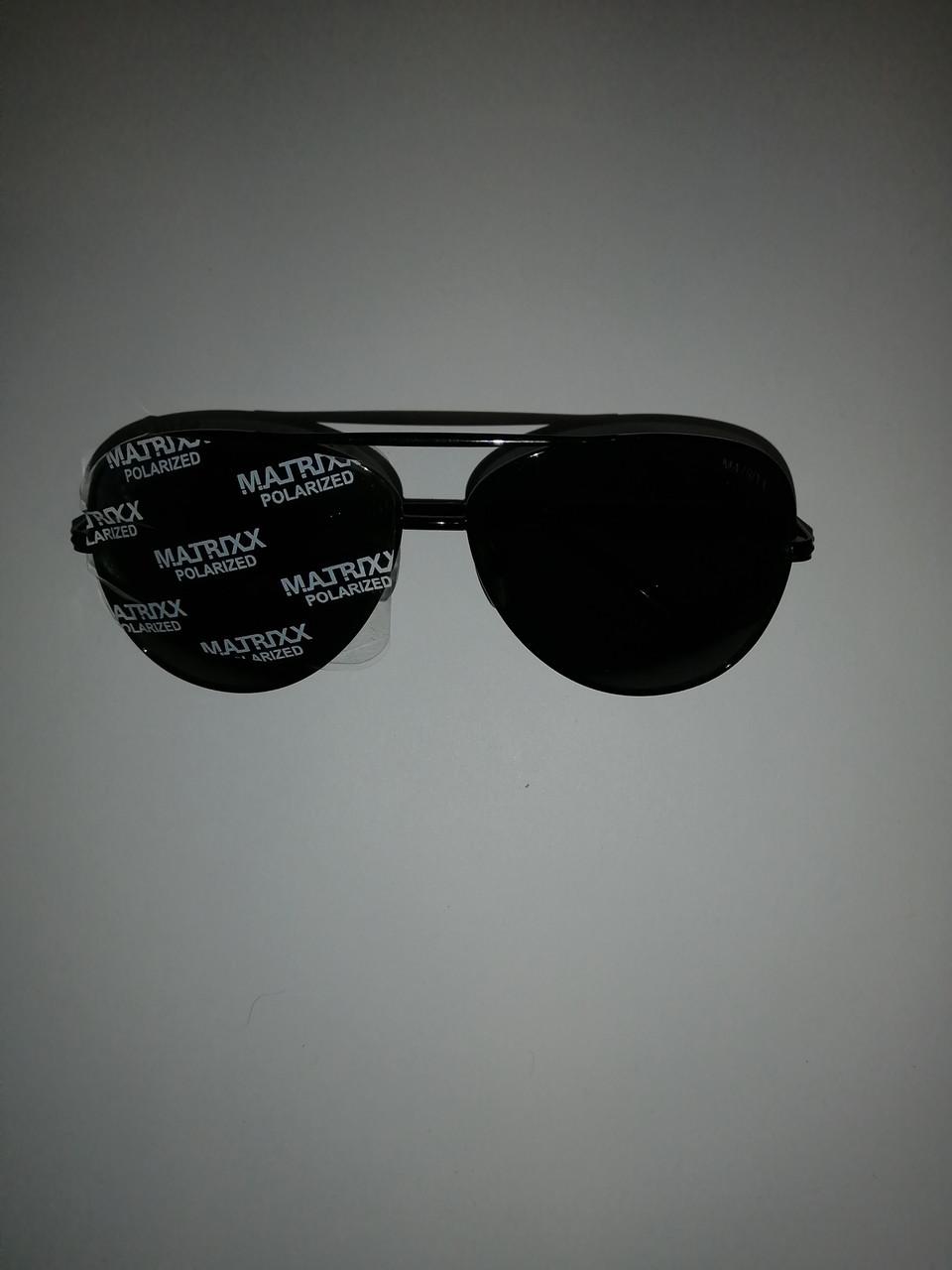 Очки солнцезащитные, капля чёрная, матрикс с полароидной линзой.