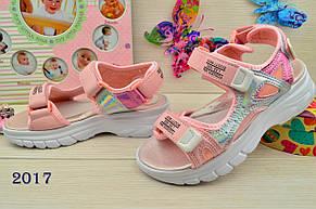 Босоножки детские на девочку розовые на липучке 32-36 р., фото 2