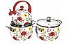 Набор эмалированных кастрюль + чайник  HOFFMAN 912, фото 2
