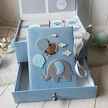 """Шкатулка для новонароджених з фотоальбомом і коробочками для пам'ятних речей  """"Мамині скарби"""" (Слоненя)"""