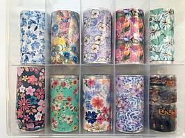 Новинка!Набор фольги для маникюра с рисунками,цветы+helloween 10 штук в упаковке