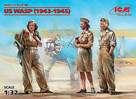 Набор сборных пластиковых фигур в масштабе 1/32. Летчицы на службе ВВС США (1943-1945 г.). ICM 32108