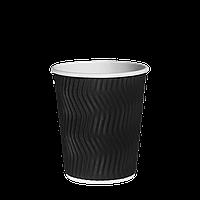 Стакан бумажный гофрированный 250 мл евро черный волна, фото 1