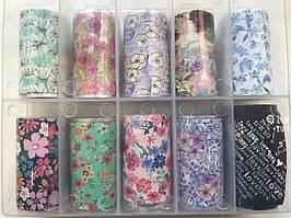 Новинка!Набор фольги для маникюра с рисунками,цветы+love 10 штук в упаковке