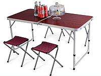 Стол раскладной туристический для пикника c 4 стульями 120х60 см RB-9300