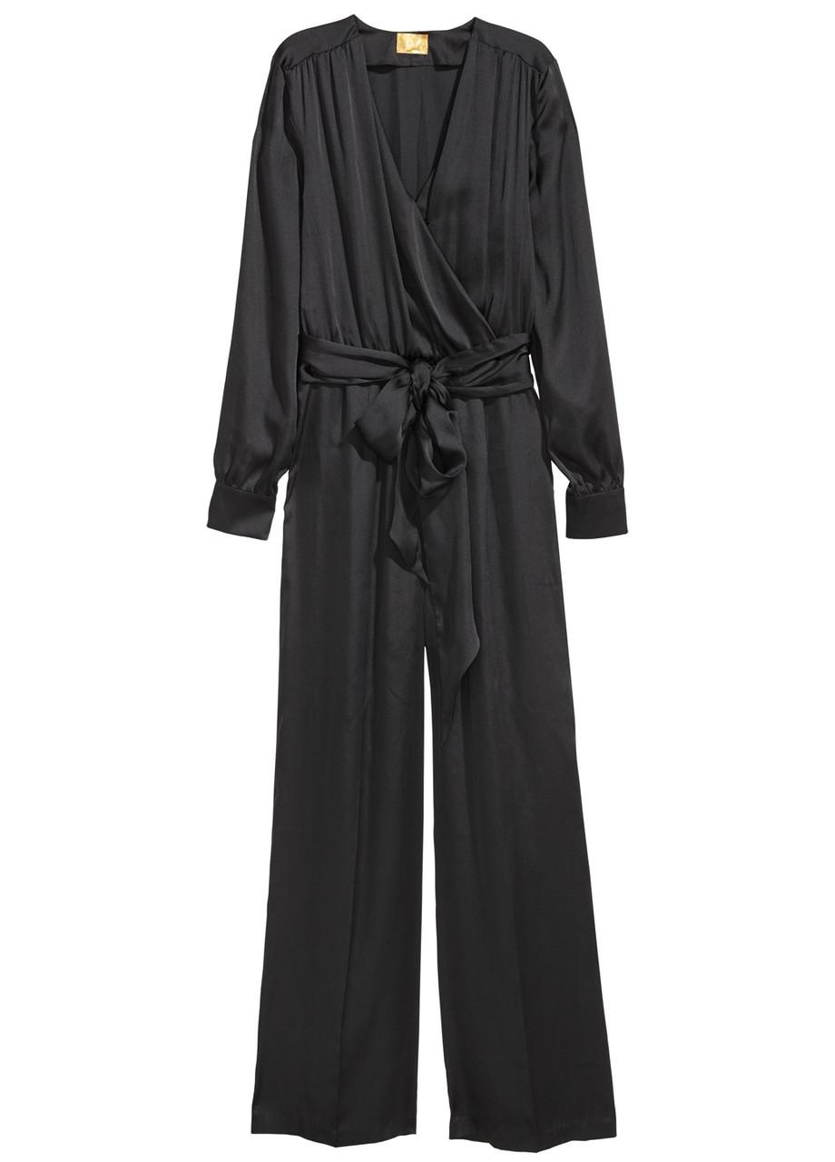 Комбинезон H&M комбинезон-брюки однотонный чёрный полиэстер