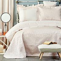 Набор постельное белье с покрывалом Karaca Home - Carolina pudra 2019-2 пудра евро