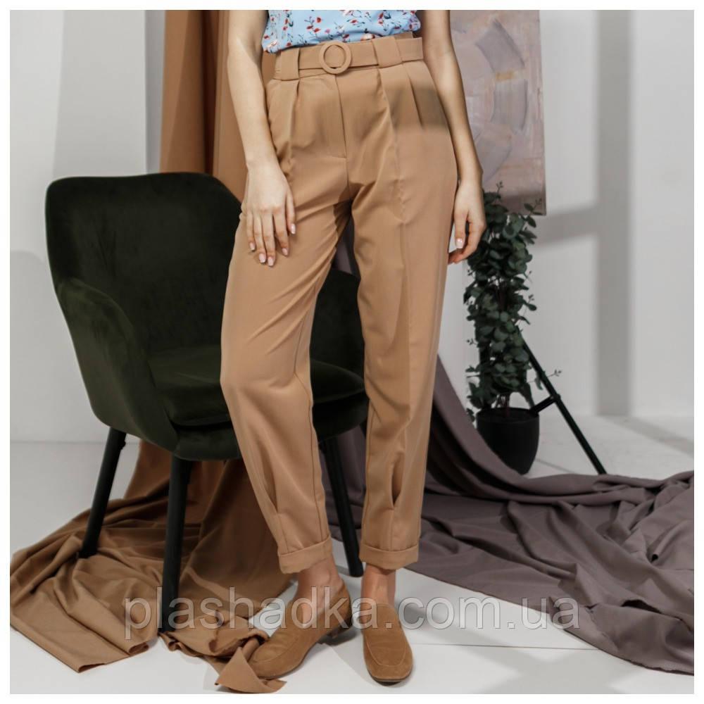 Летние брюки женские модные, бежевые (Украина)