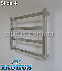Низкий стильный полотенцесушитель Slide 4/450х500 мм. для небольшой ванной комнаты. Украина, Смела (TAURUS)