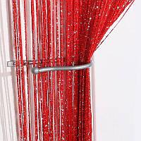 Нити шторы с люрексом 300x280 cm Красные (Ki-314), фото 1