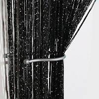 Нитяные шторы Кисея с люрексом 300x280 cm Черные (Ki-313)