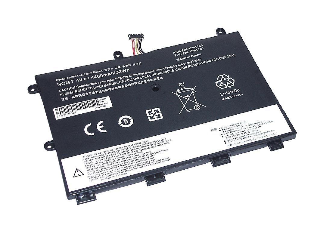 Аккумуляторная батарея для ноутбука Lenovo 45N1750-2S2P ThinkPad Yoga 11e 7.4V Black 4400mAh OEM
