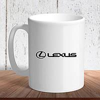 """Белая кружка (чашка) с логотипом автомобиля """"Lexus"""""""