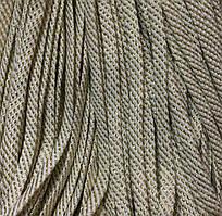 Шнур декоративный люрекс без наполнителя п/э 8мм цв белый с золотом (уп 100м) Ф