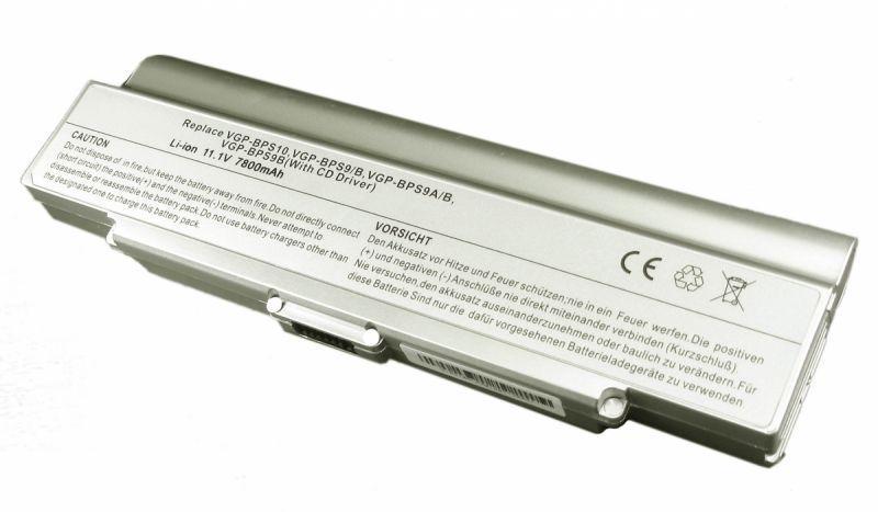 Усиленная аккумуляторная батарея для ноутбука Sony VGP-BPS9B VAIO VGN-NR260E 11.1V Silver 7800mAh OEM