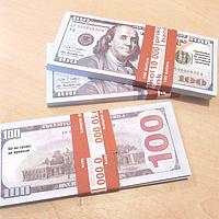 Хит! Пачка Сувенирных Денег 100 долларов Новые 80 шт/уп, пачка баксов