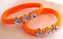 Гумки для волосся з кристалами 2 шт мікрофібра 5 см, помаранчеві