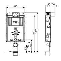 Бачок ТЕСЕbox для підвісного унітазу з фронтальним розташуванням панелі змиву, висотою 820мм