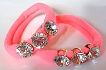 Гумки для волосся з кристалами 2 шт мікрофібра 5 см, рожеві