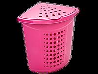 Корзина для білизни кутова 45л. (темно-рожева) [2659-06]