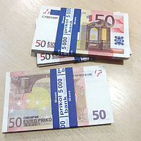 Хит! Бутафорские Деньги Прикол 50 евро 80 шт/уп, муляж