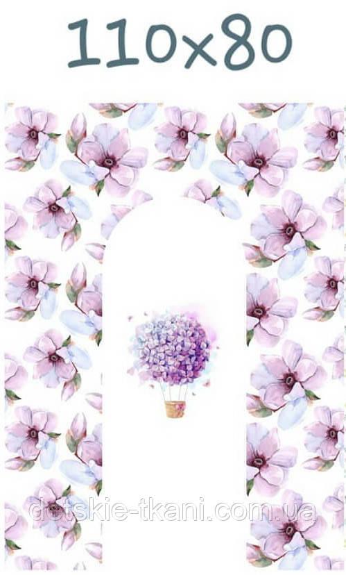 """Панелька из сатина для кокона """"Воздушный шар из сиреневых цветов"""" 80*110 см"""