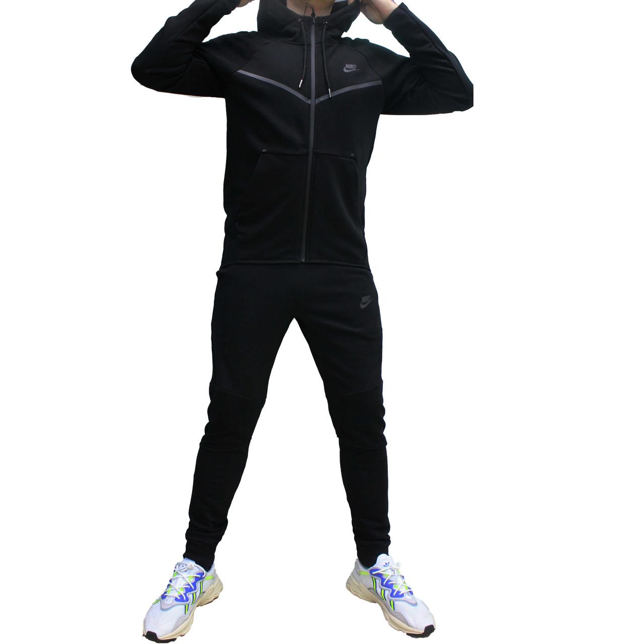 Мужской черный весенний трикотажный костюм с прямой курткой Tech  (Реплика)
