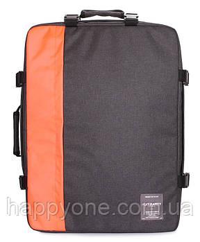 Рюкзак-сумка для ручної поклажі PoolParty Cabin (сірий-помаранчевий) - МАУ
