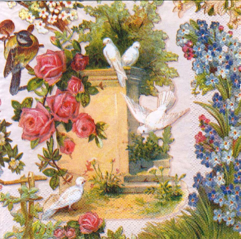 Колекційна серветка для декупажу Білі голуби 5070