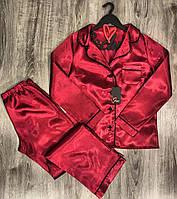 Бордова піжама з атласу сорочка+штани