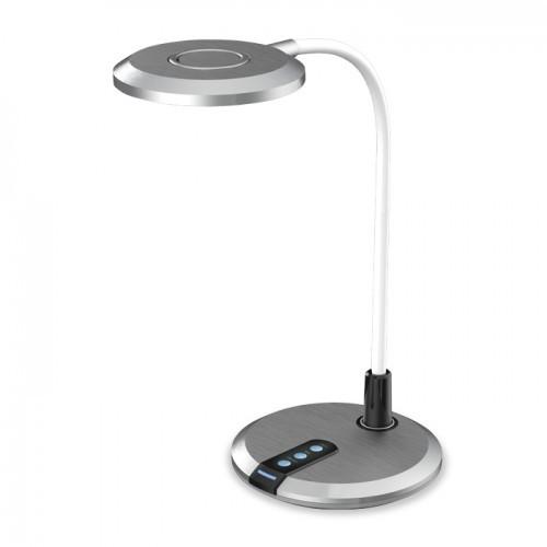 Настольная светодиодная лампа Feron DE1731 8W 3000К-4000К-6000К 480lm 3 уровня света(для учебы, работы) Серая