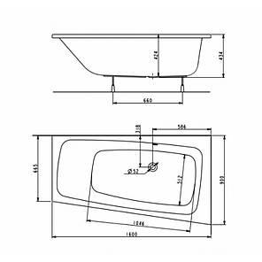 Ванна ассиметрична акрилова KOLO SPLIT / XWA1660000 / ПРАВА / 160*90 / з ніжками, фото 2