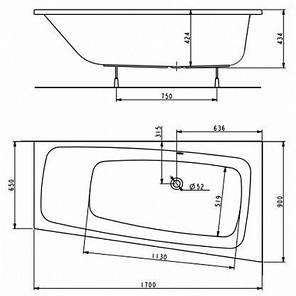 Ванна ассиметрична акрилова KOLO SPLIT / XWA1670000 / ЛІВА / 170*90 / з ніжками, фото 2