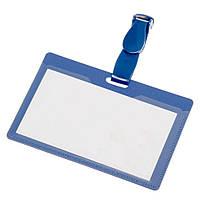Бейдж пластиковый, многоразовый, прозрачное окно, синий