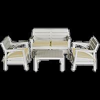 Набір меблів Irak Plastik Маямі (2 крісла + лава + столик) білий