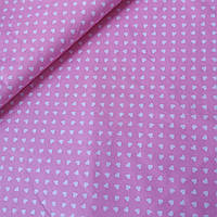Ткань с мелкими белыми сердечками на ярко-розовом фоне, ширина 160 см, фото 1