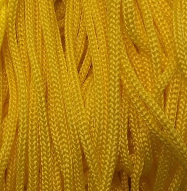 Шнур для одягу круглий 5мм кол жовтий (уп 100м) 5-06