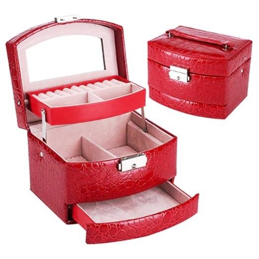 Шкатулка - автомат (трансформер) для прикрас червона (15,5-13-12см)
