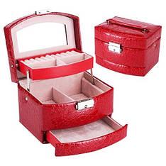Шкатулка - автомат (трансформер) для украшений красная (15,5-13-12см)