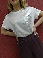 Женская блуза футболка с люрексовым накатом белая, спорт-шик, повседневная, молодежная, натуральная, летняя