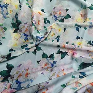 Ткань шелк армани принт цветы на мятном
