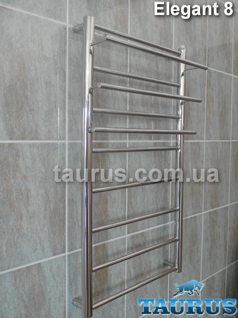 Узкий нержавеющий полотенцесушитель с полочками Elegant 8 / 850х400 в ванную комнату;